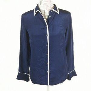 J. Crew 100% Silk Tipped Boy Shirt Button Down